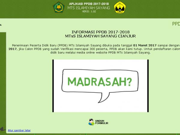 MTs Islamiyah Sayang Membuka Pendaftaran Peserta Didik Baru TP. 2017-2018
