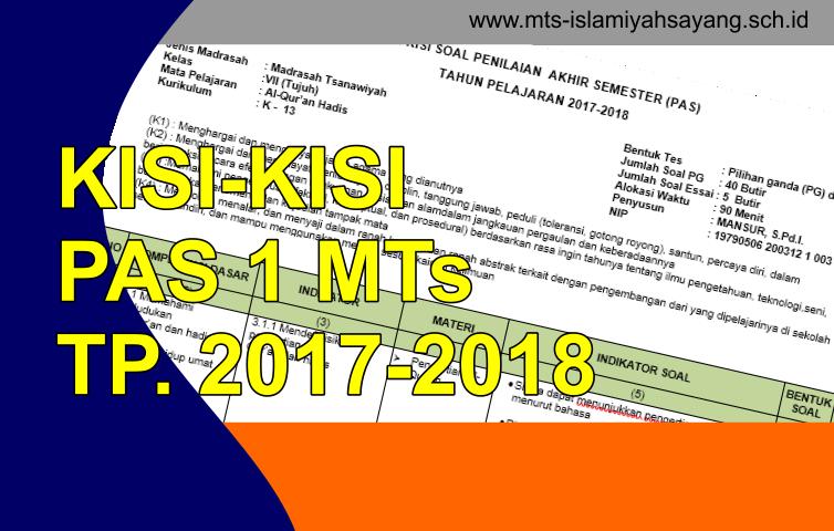 Download Kisi-kisi PAS Semester Ganjil TP 2017-2018 Tingkat MTs