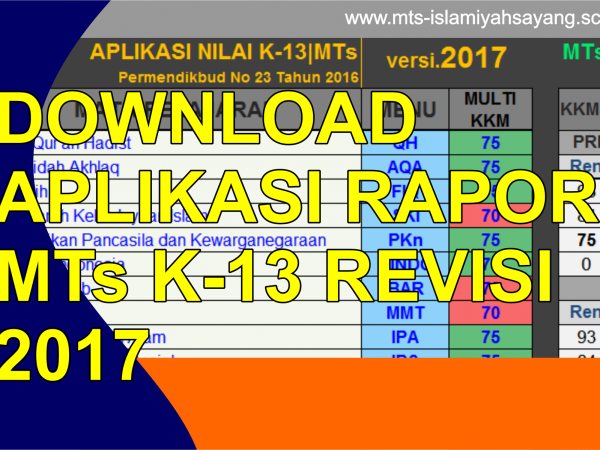 Download Aplikasi Rapor MTs K-13 Revisi 2017