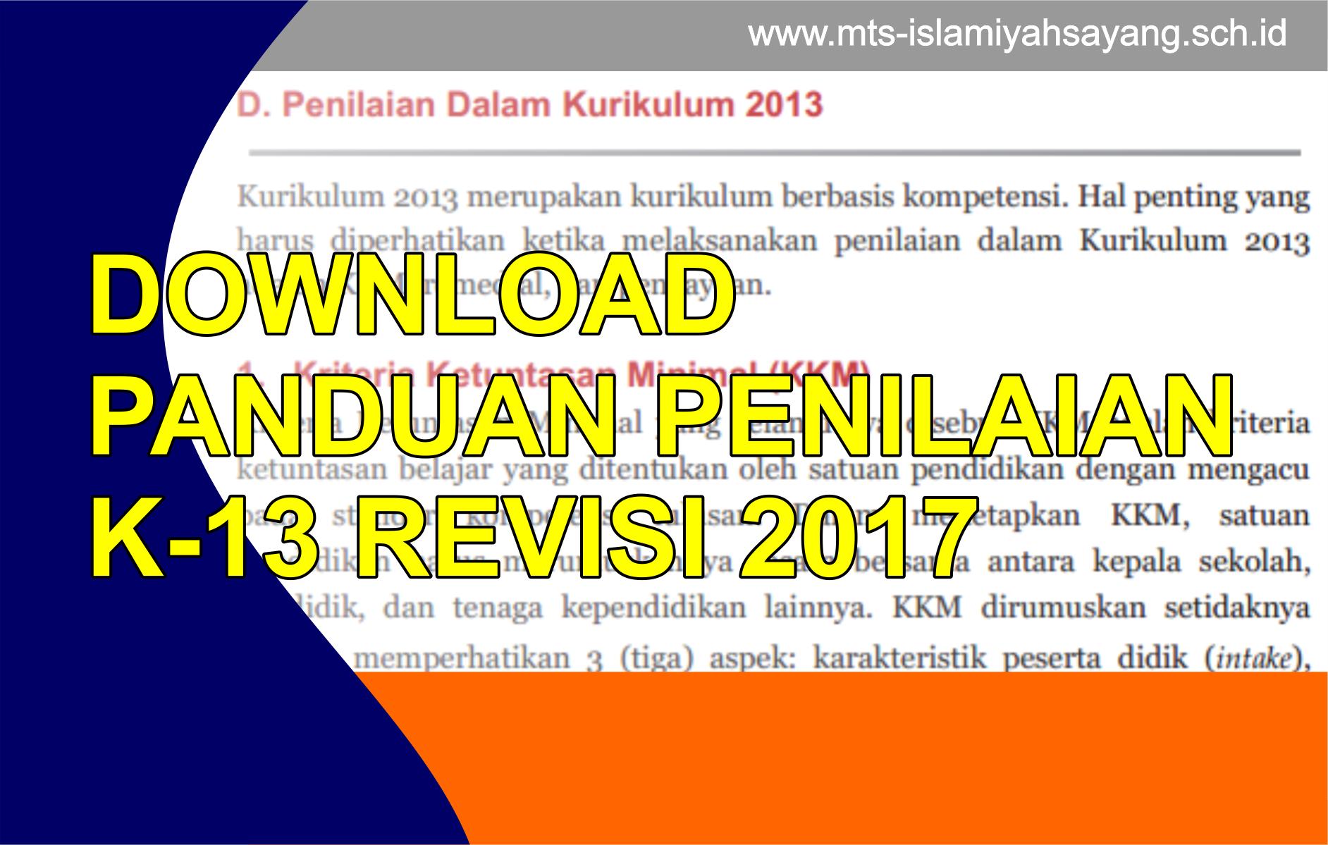Download Juknis Panduan Penilaian K-13 Tahun 2016 Edisi Revisi